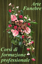 Arte funeraria. Fiori per onoranze funebri. Corona funebre, cuscino funerario, cuore, cofano o copricassa, mezzo cofano, cesto, urna. Composizioni funerarie nei vari stili floreali. Scuola e corsi di formazione fioristi per servizi di pompe funebri. Milano (Italia)/Floral design courses. Sympathy flowers and floral tributes arrangements. Learn how to create coffin sprays, easel sprays, traditional posies,  hearts, long lasting baskets, bouquets, pillows, cushions, standing sprays, casket sprays, half casket sprays, urn flowers. Milan (Italy)