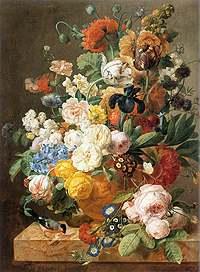 Jan Frans Eliaerts (1761-1848): Bouquet di fiori in un vaso scolpito